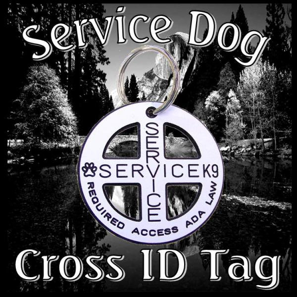 Cross Engraved Service Dog Tag