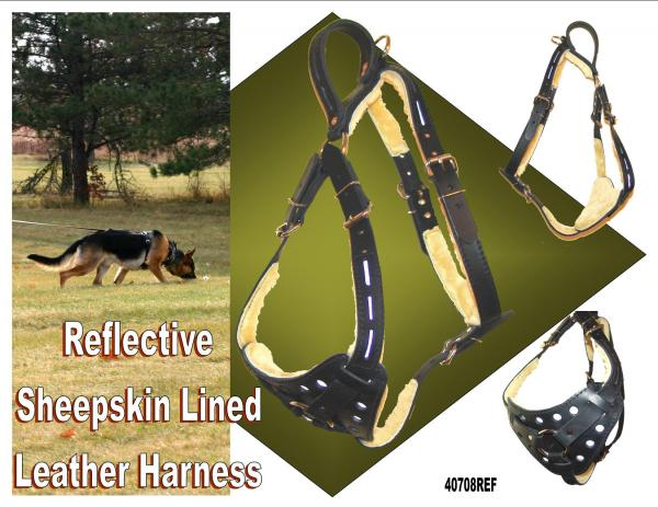 Reflective Leather Sheepskin Lined Dog Harness