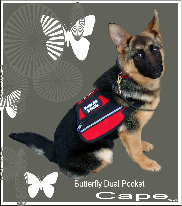 Butterfly Dual Pocket Service Dog Cape