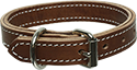 Brown 2 Layer Stitched Leather Dog Collar