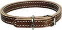 "Brown 3/4"" Two Layer Stitched Leather Dog Collar"