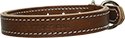 "Brown 1"" Two Layer Stitched Leather Dog Collar"