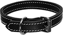 Black 2 Layer Stitched Leather Dog Collar