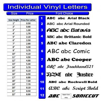 individual vinyl letters With individual vinyl letters