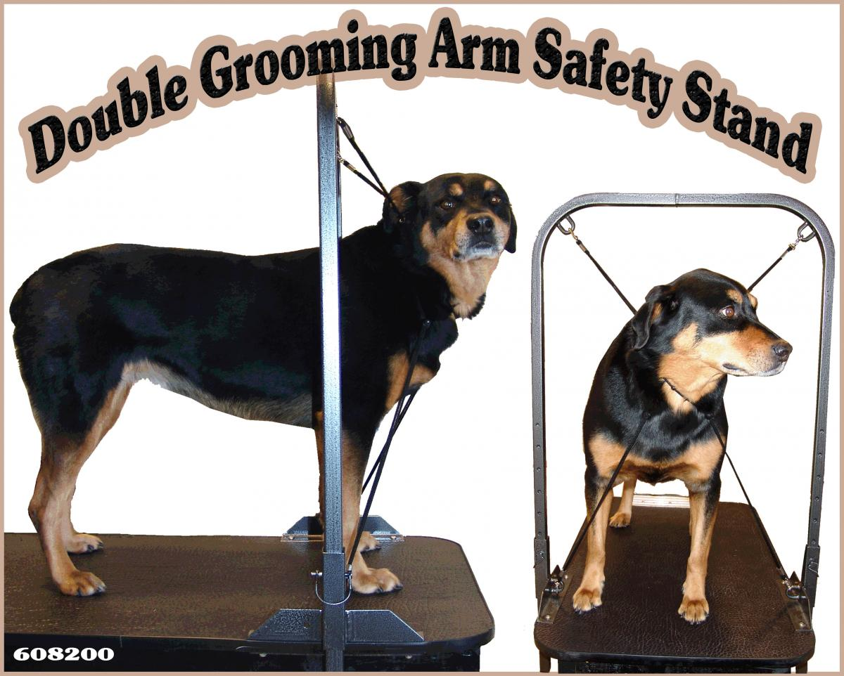double grooming arm safety stand with rottweiler