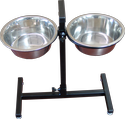 Adjustable Height Elevated Double Dog Bowl Stand