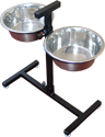 Adjustable Height Raised Double Dog Bowl Stand