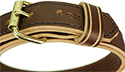 """Double Layered Military Spec 1 1/4"""" Brown Leather Collar"""