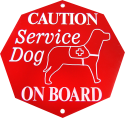 Engraved Service Dog Hanging Vehicle Sign