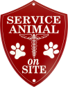 Engraved Service Animal on Site Sign