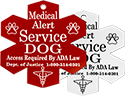 Medical Alert Service Dog Engraved Plastic Tag