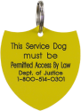 Shield Shape Service Dog Engraved ID Tag