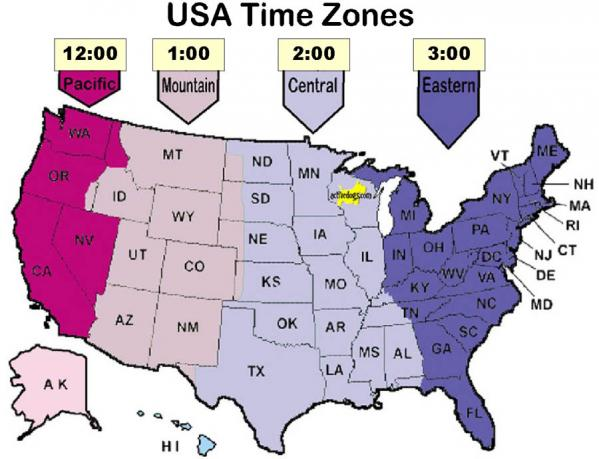 Usa Central Time Zone Map Topographic Map - Us time zone map with times